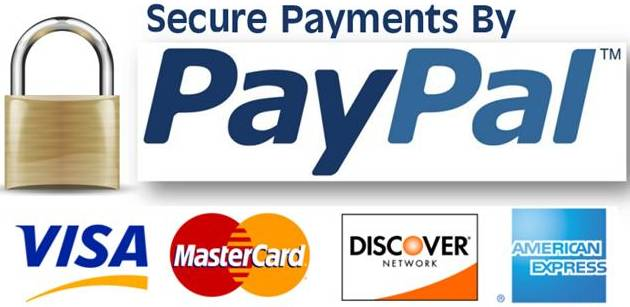 PayPal, VISA, MasterCard, Discover, and American Express accepted.
